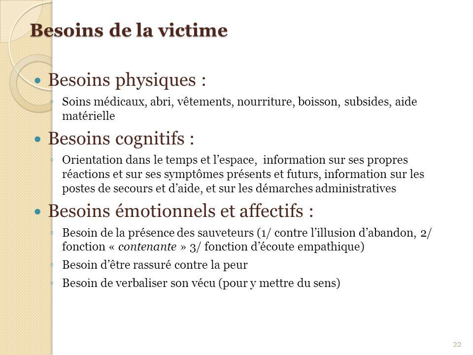 Besoins émotionnels et affectifs :