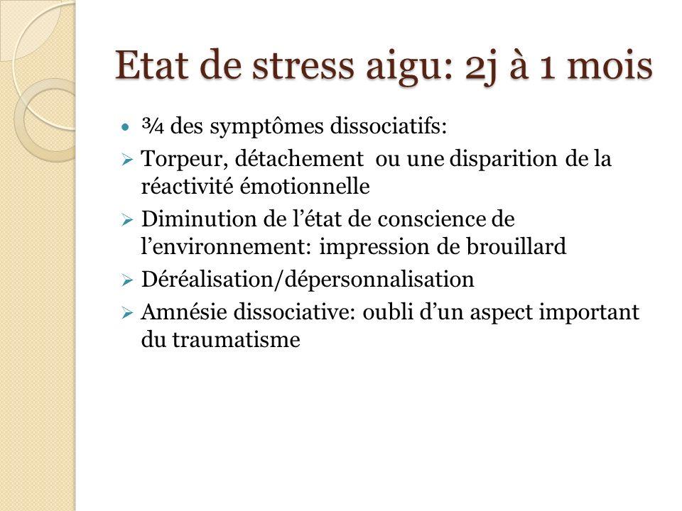 Etat de stress aigu: 2j à 1 mois