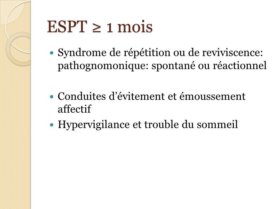 ESPT ≥ 1 mois Syndrome de répétition ou de reviviscence: pathognomonique: spontané ou réactionnel.