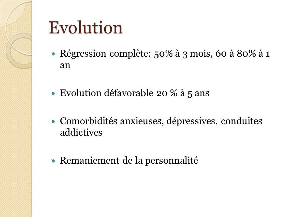 Evolution Régression complète: 50% à 3 mois, 60 à 80% à 1 an