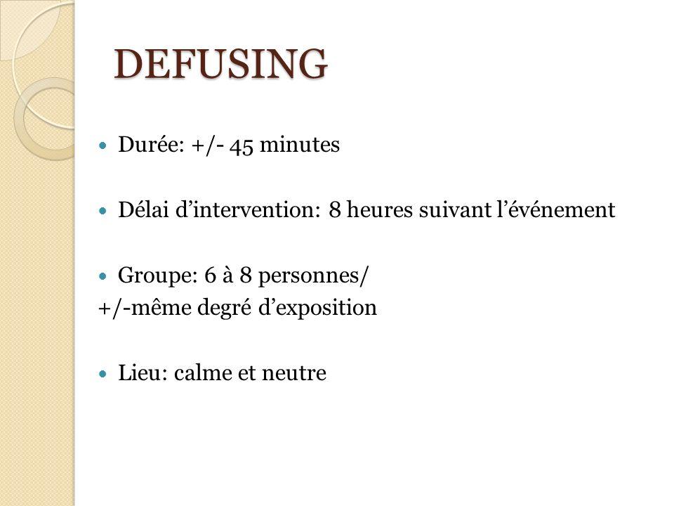 DEFUSING Durée: +/- 45 minutes