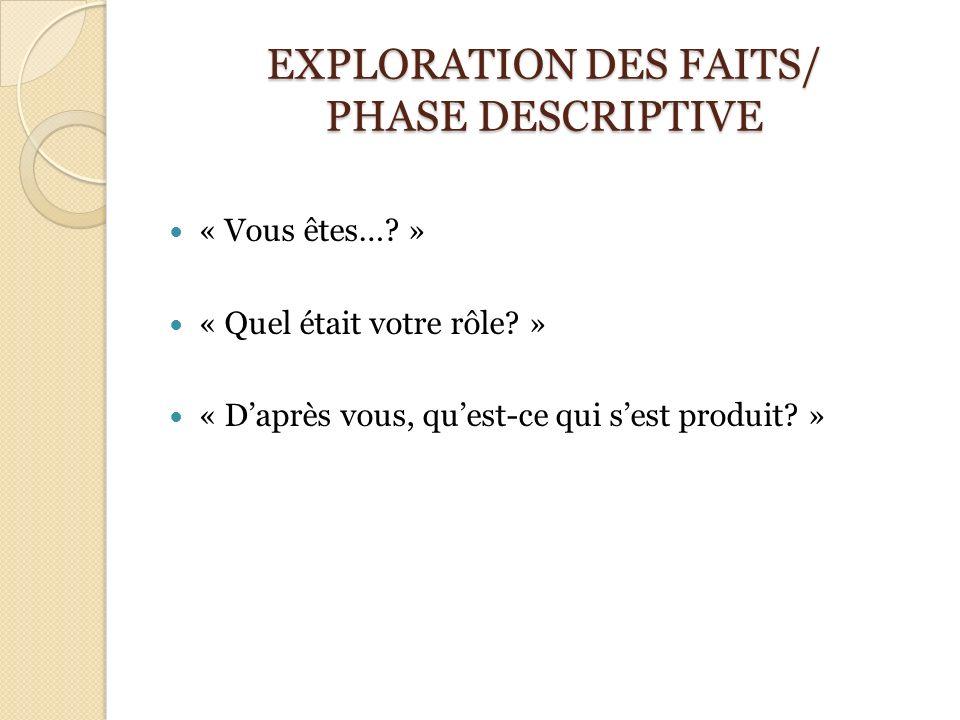 EXPLORATION DES FAITS/ PHASE DESCRIPTIVE