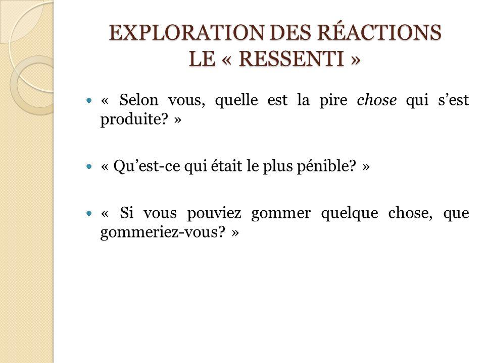 EXPLORATION DES RÉACTIONS LE « RESSENTI »