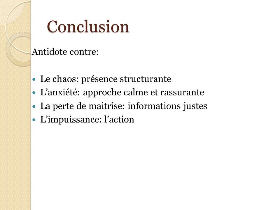 Conclusion Antidote contre: Le chaos: présence structurante
