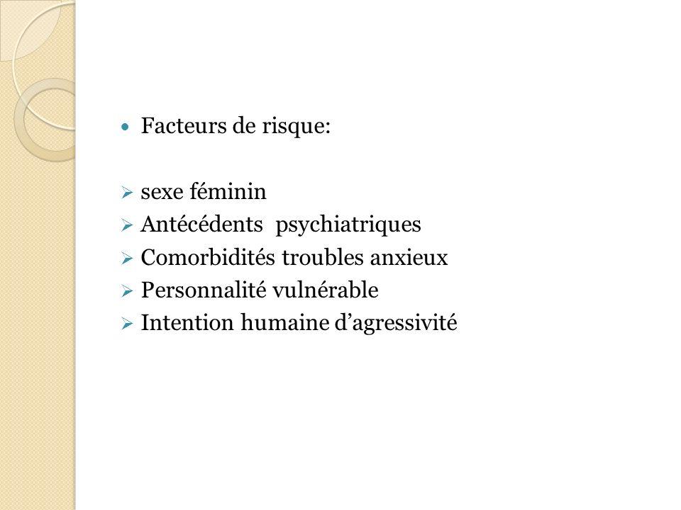 Facteurs de risque: sexe féminin. Antécédents psychiatriques. Comorbidités troubles anxieux. Personnalité vulnérable.