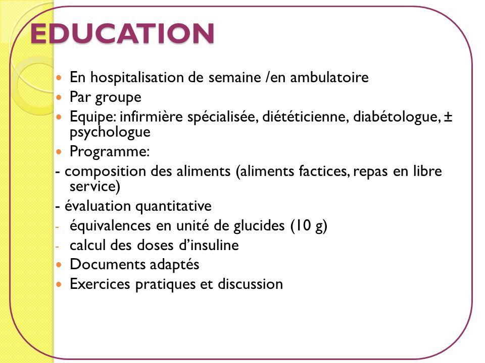 EDUCATION En hospitalisation de semaine /en ambulatoire Par groupe