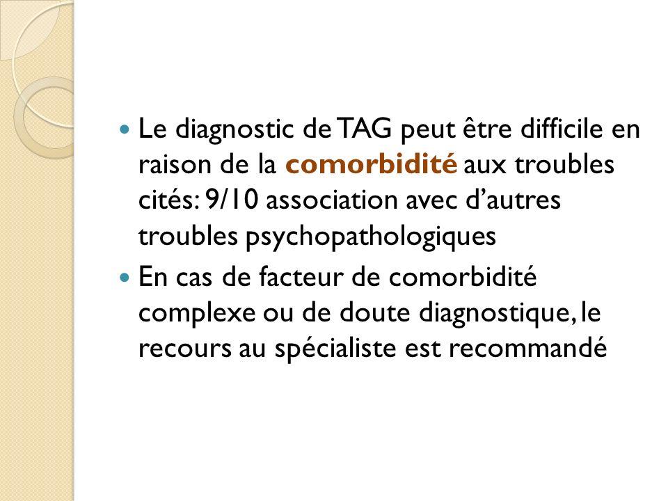 Le diagnostic de TAG peut être difficile en raison de la comorbidité aux troubles cités: 9/10 association avec d'autres troubles psychopathologiques