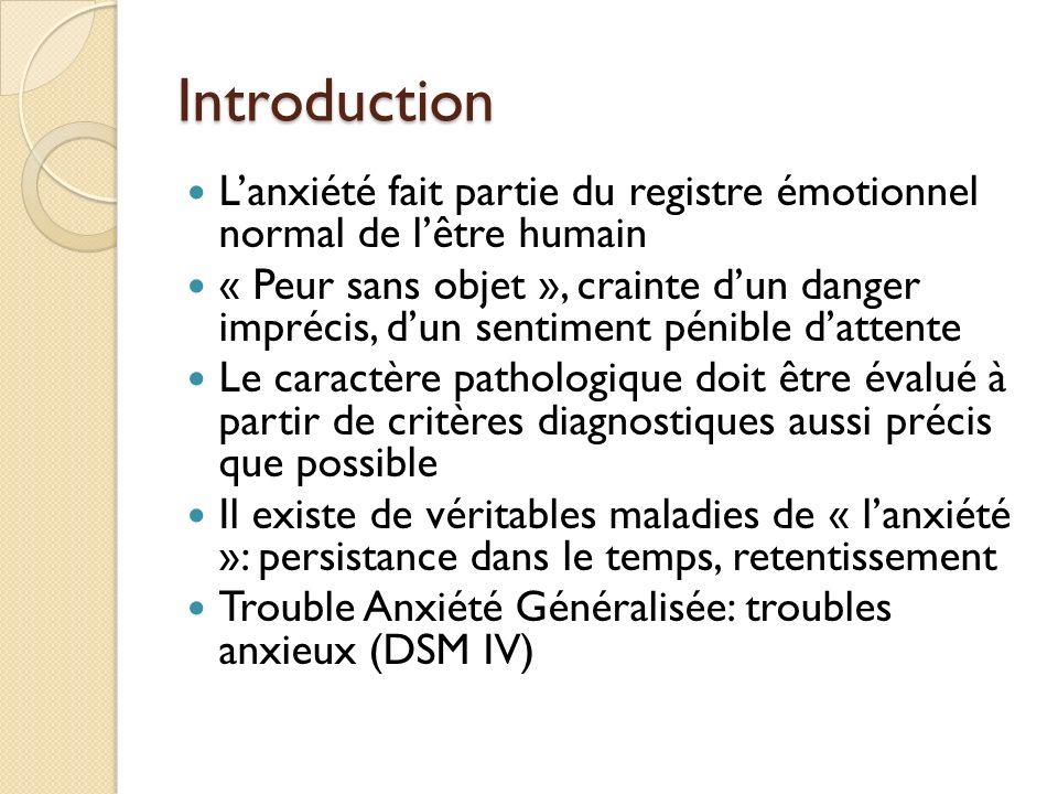 Introduction L'anxiété fait partie du registre émotionnel normal de l'être humain.