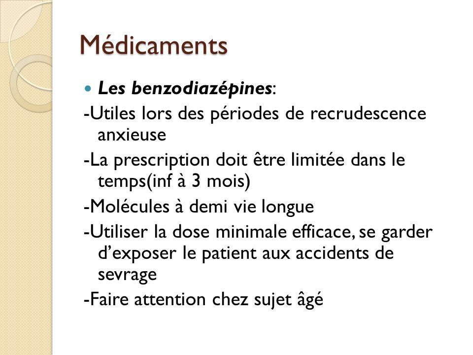 Médicaments Les benzodiazépines: