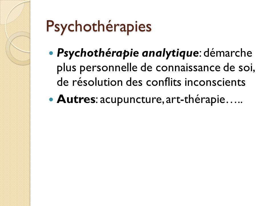 Psychothérapies Psychothérapie analytique: démarche plus personnelle de connaissance de soi, de résolution des conflits inconscients.