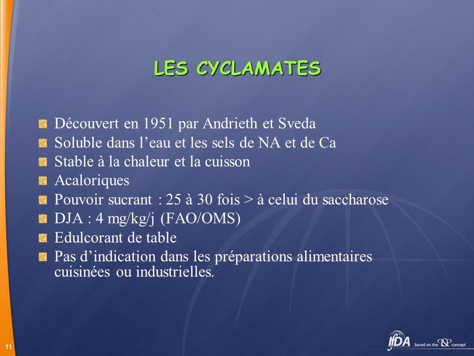 LES CYCLAMATES Découvert en 1951 par Andrieth et Sveda