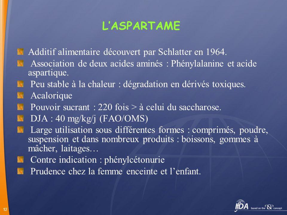 L'ASPARTAME Additif alimentaire découvert par Schlatter en 1964.