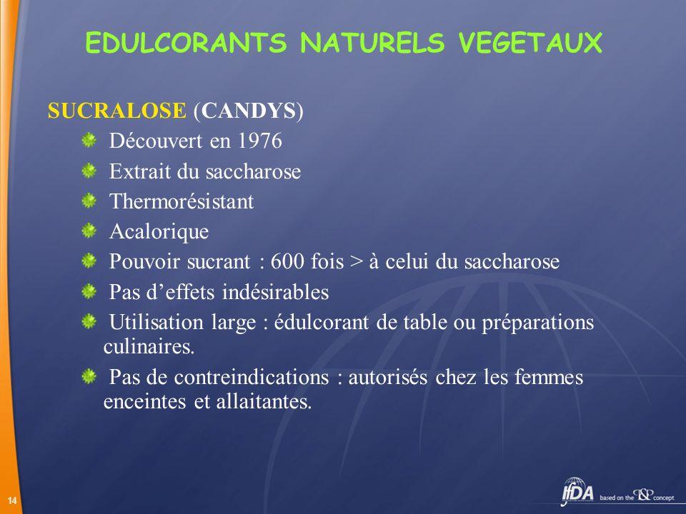 EDULCORANTS NATURELS VEGETAUX