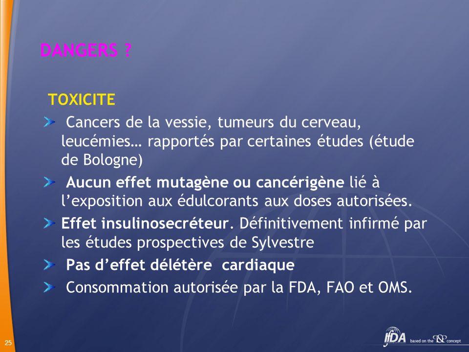 DANGERS TOXICITE. Cancers de la vessie, tumeurs du cerveau, leucémies… rapportés par certaines études (étude de Bologne)