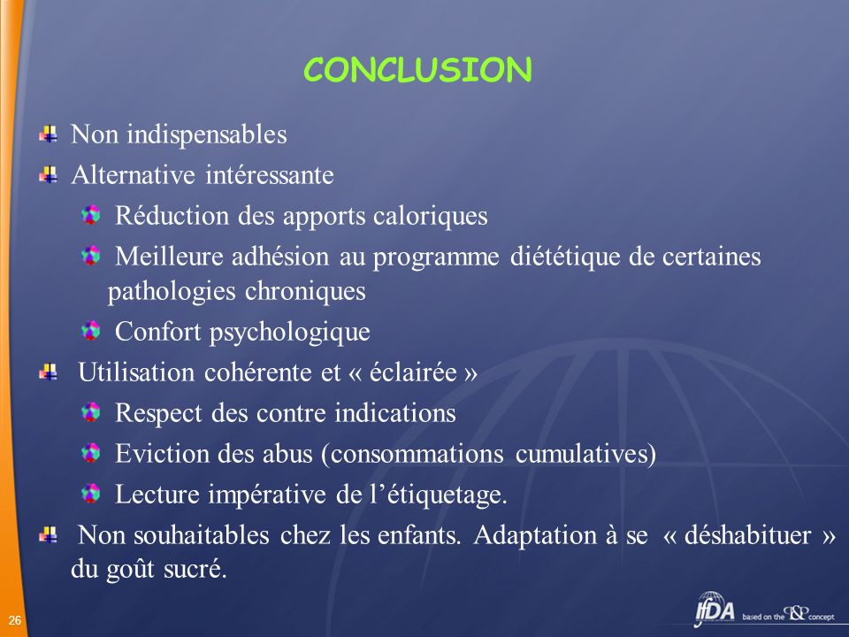 CONCLUSION Non indispensables Alternative intéressante