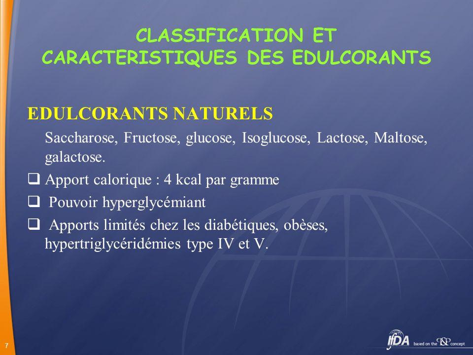 CLASSIFICATION ET CARACTERISTIQUES DES EDULCORANTS