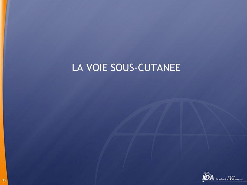 LA VOIE SOUS-CUTANEE