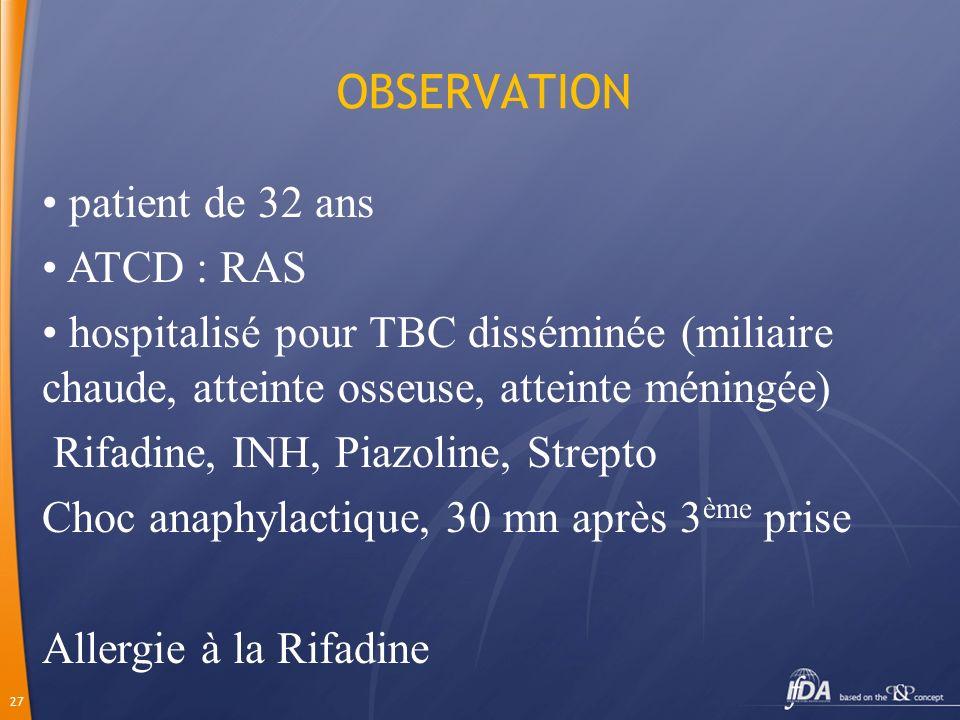 OBSERVATION patient de 32 ans ATCD : RAS
