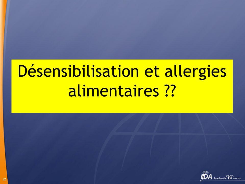 Désensibilisation et allergies alimentaires