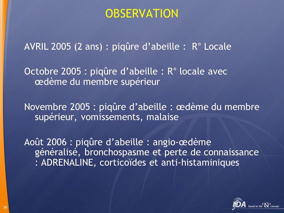 OBSERVATION AVRIL 2005 (2 ans) : piqûre d'abeille : R° Locale
