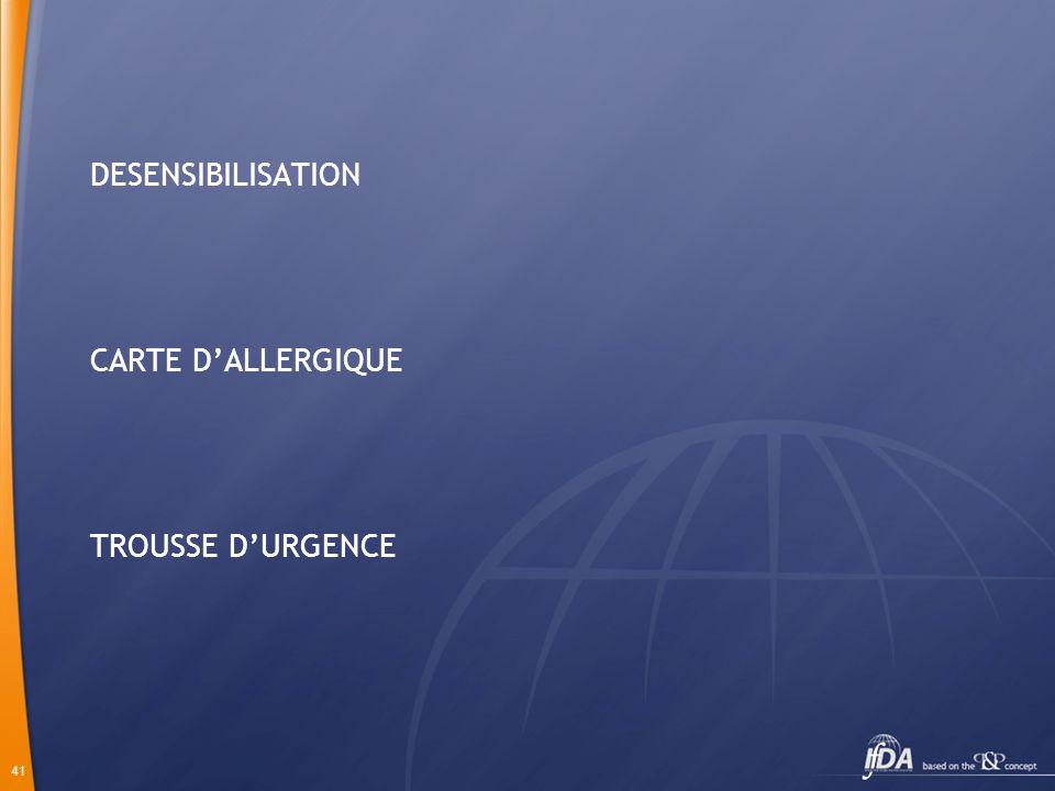 DESENSIBILISATION CARTE D'ALLERGIQUE TROUSSE D'URGENCE