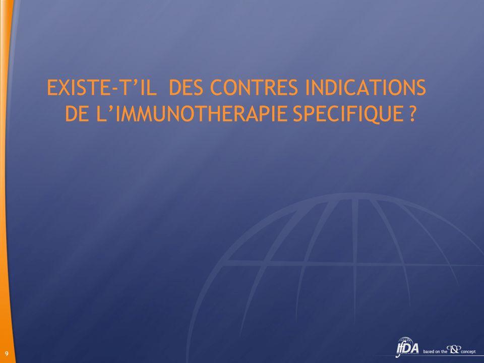 EXISTE-T'IL DES CONTRES INDICATIONS DE L'IMMUNOTHERAPIE SPECIFIQUE