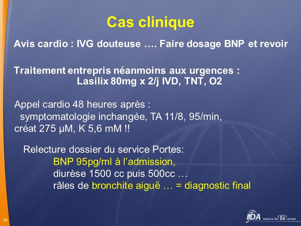 Cas clinique Avis cardio : IVG douteuse …. Faire dosage BNP et revoir