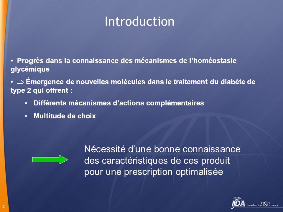 Introduction Progrès dans la connaissance des mécanismes de l'homéostasie glycémique.