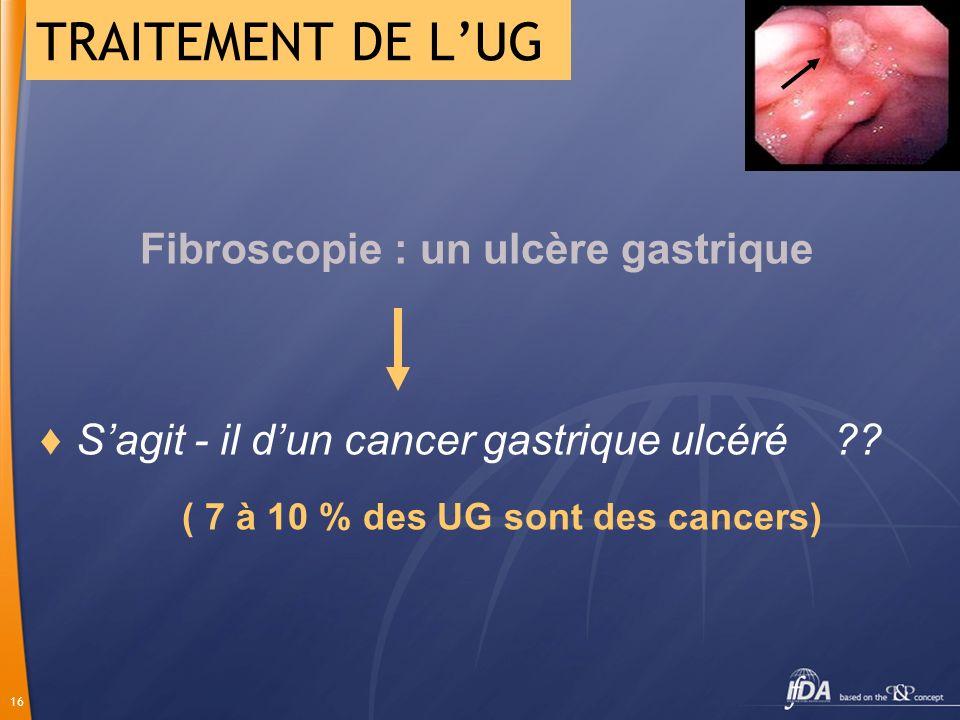 TRAITEMENT DE L'UG S'agit - il d'un cancer gastrique ulcéré