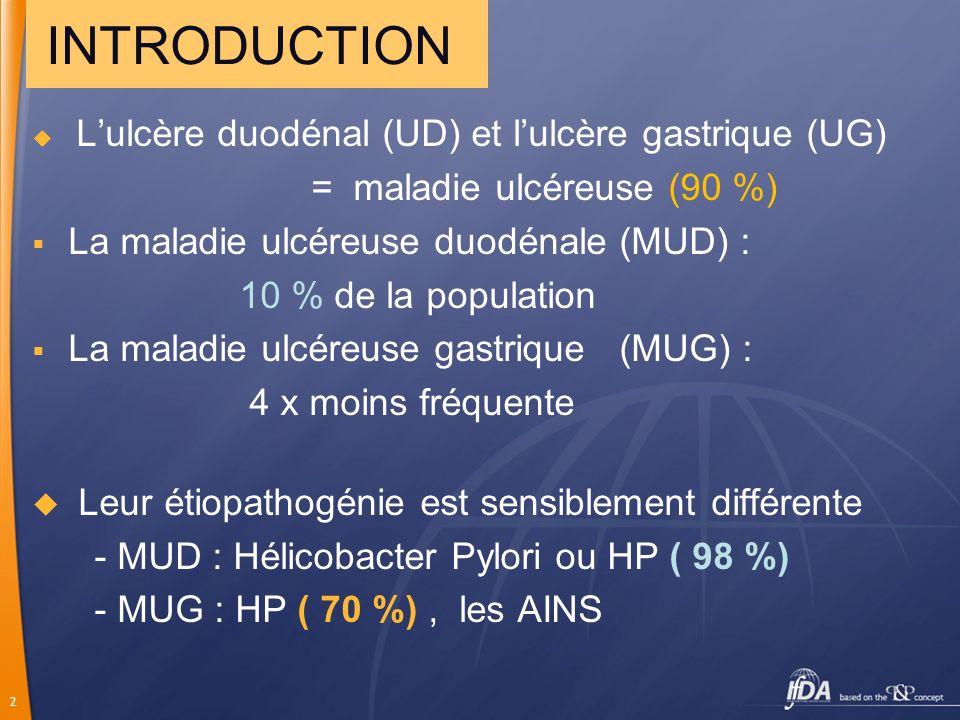 = maladie ulcéreuse (90 %) La maladie ulcéreuse duodénale (MUD) :