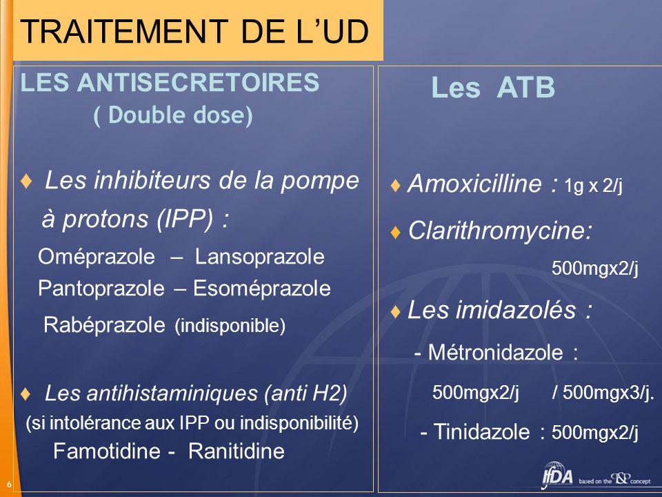 TRAITEMENT DE L'UD Les ATB Rabéprazole (indisponible)