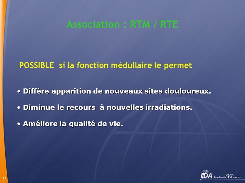 Association : RTM / RTE POSSIBLE si la fonction médullaire le permet. Diffère apparition de nouveaux sites douloureux.