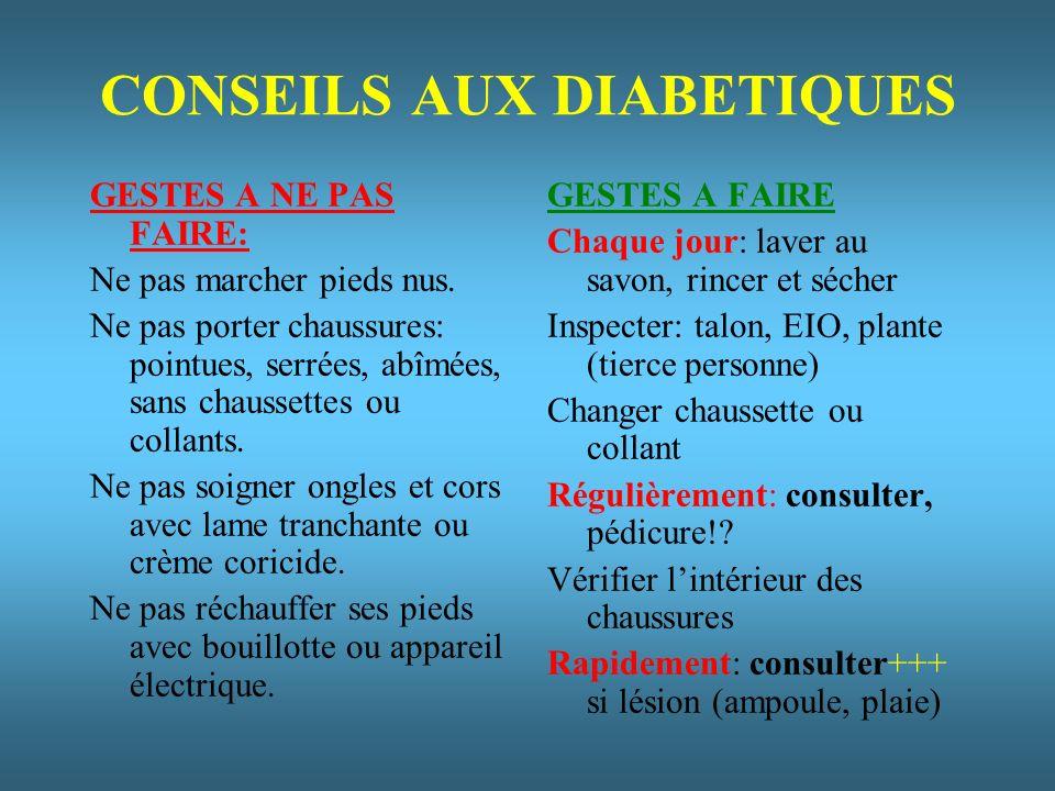 CONSEILS AUX DIABETIQUES