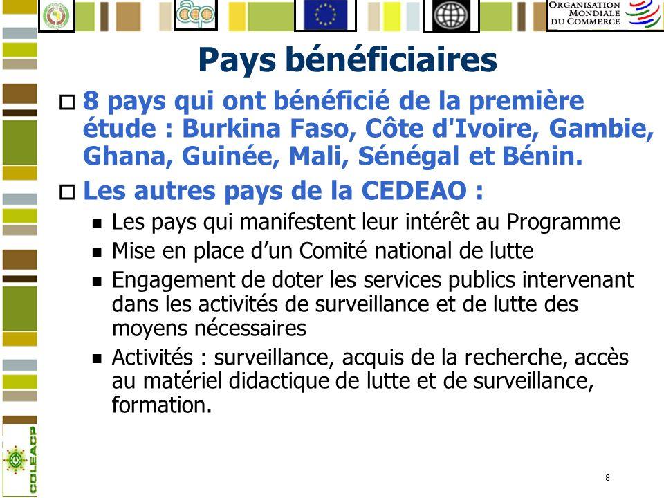 Pays bénéficiaires 8 pays qui ont bénéficié de la première étude : Burkina Faso, Côte d Ivoire, Gambie, Ghana, Guinée, Mali, Sénégal et Bénin.