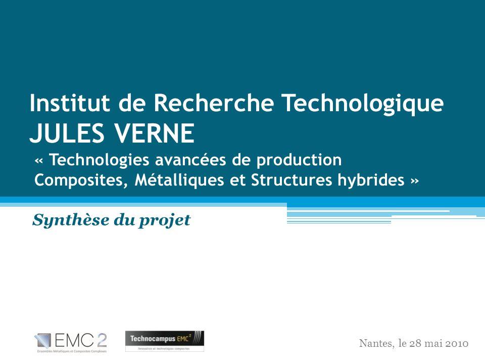 Institut de Recherche Technologique JULES VERNE « Technologies avancées de production Composites, Métalliques et Structures hybrides »