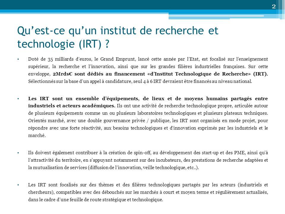 Qu'est-ce qu'un institut de recherche et technologie (IRT)