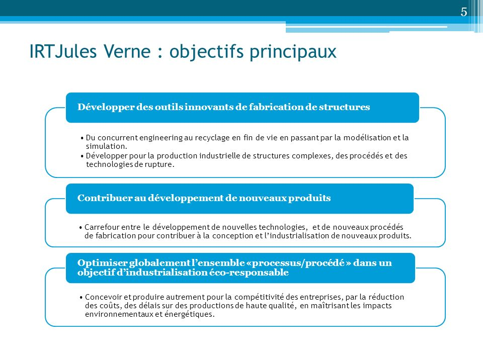 IRTJules Verne : objectifs principaux
