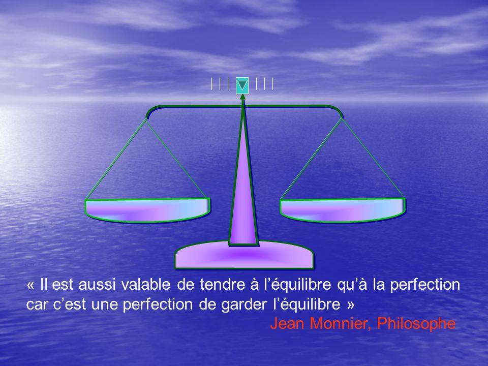 « Il est aussi valable de tendre à l'équilibre qu'à la perfection car c'est une perfection de garder l'équilibre »