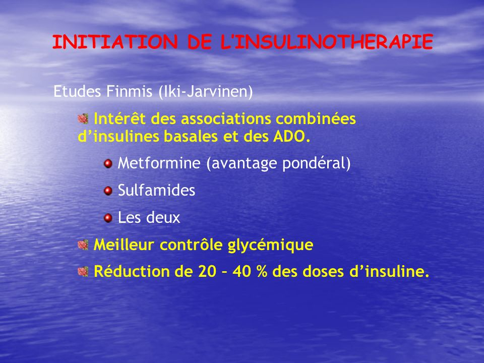 INITIATION DE L'INSULINOTHERAPIE
