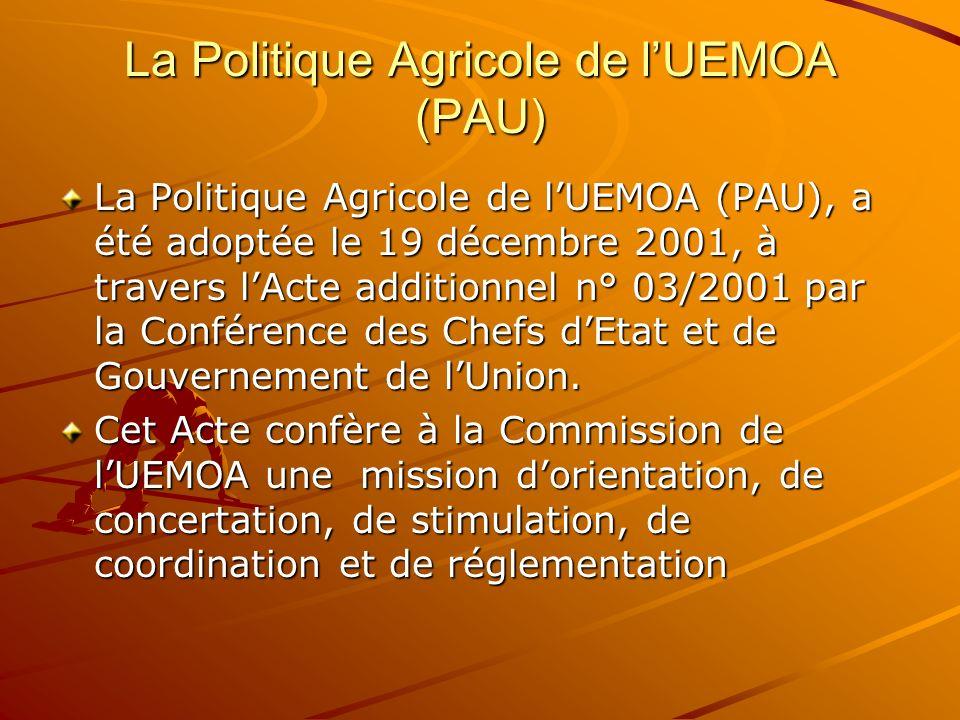 La Politique Agricole de l'UEMOA (PAU)
