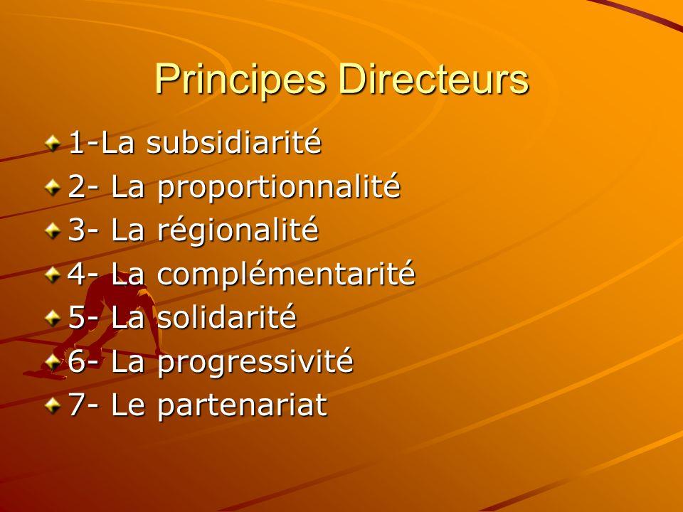 Principes Directeurs 1-La subsidiarité 2- La proportionnalité