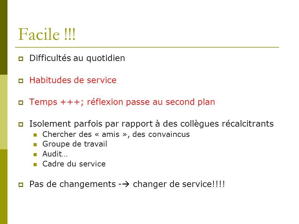Facile !!! Difficultés au quotidien Habitudes de service