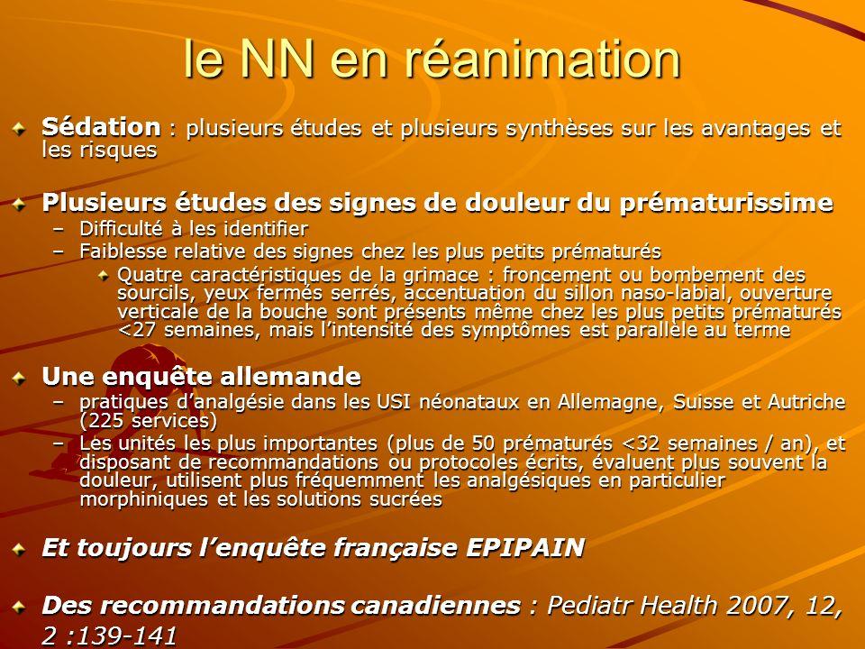 le NN en réanimation Sédation : plusieurs études et plusieurs synthèses sur les avantages et les risques.