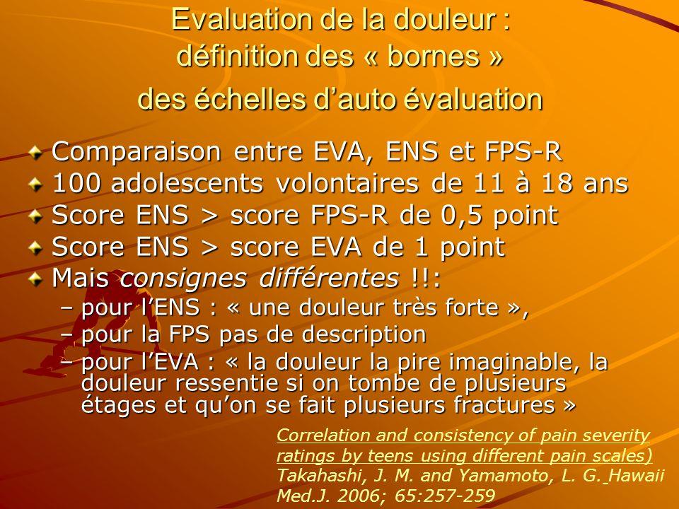 Evaluation de la douleur : définition des « bornes » des échelles d'auto évaluation