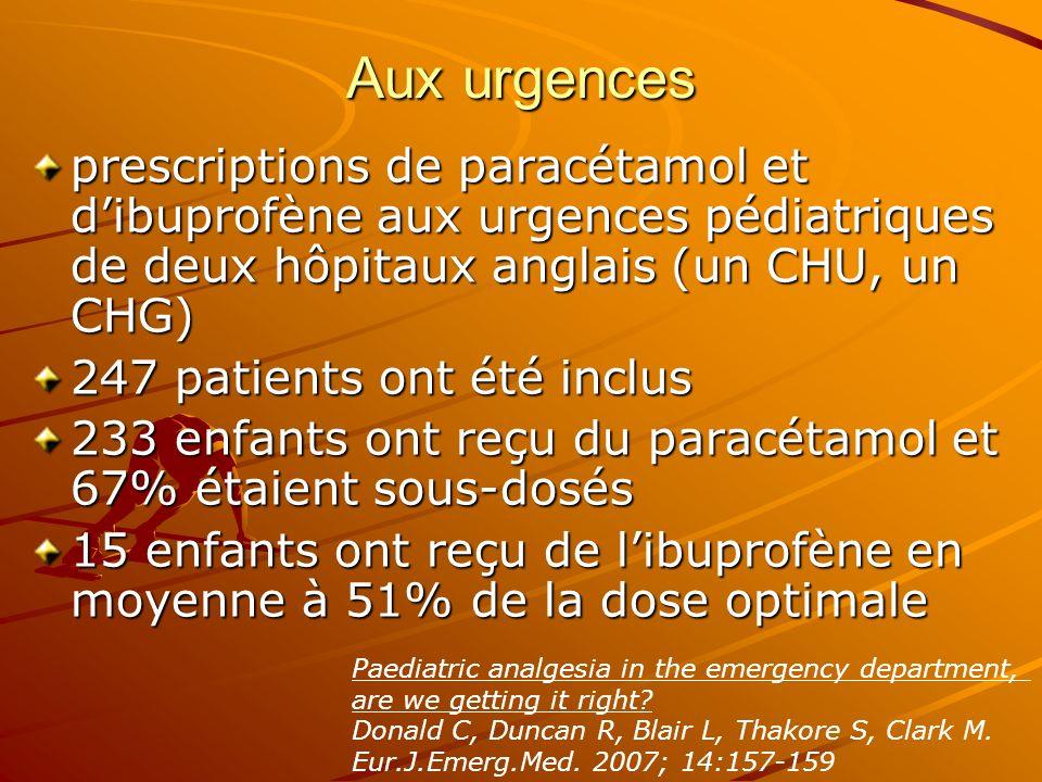 Aux urgences prescriptions de paracétamol et d'ibuprofène aux urgences pédiatriques de deux hôpitaux anglais (un CHU, un CHG)