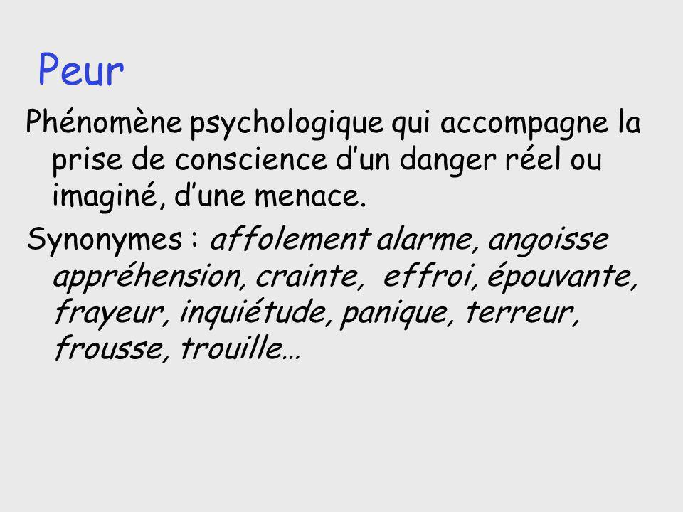 Peur Phénomène psychologique qui accompagne la prise de conscience d'un danger réel ou imaginé, d'une menace.