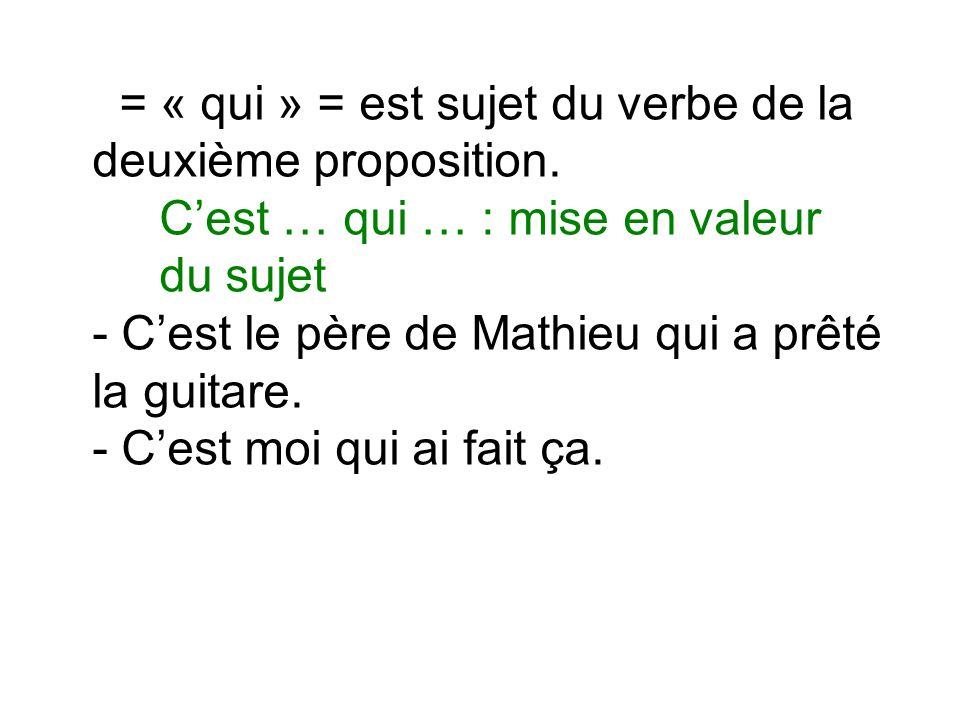 = « qui » = est sujet du verbe de la deuxième proposition.