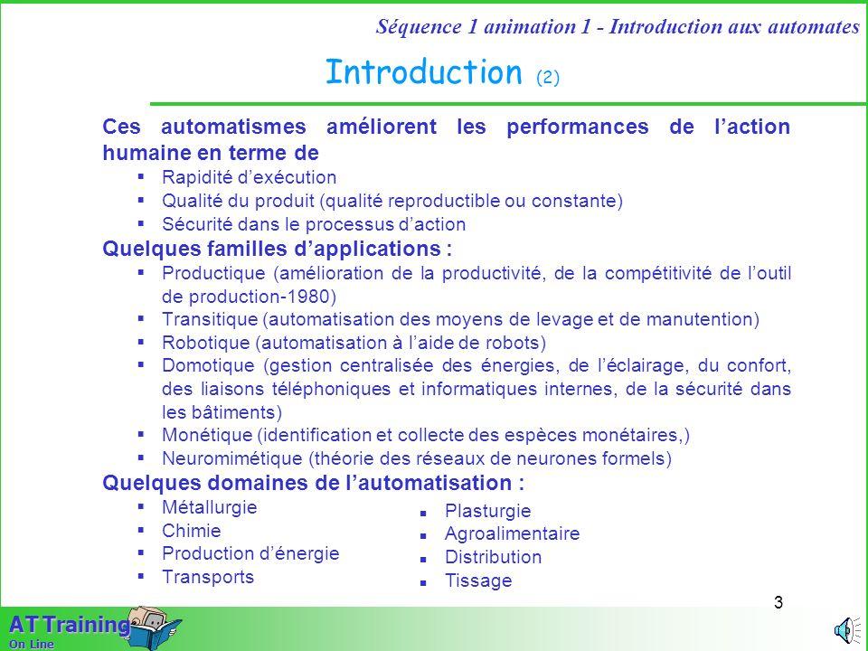 Introduction (2) Ces automatismes améliorent les performances de l'action humaine en terme de. Rapidité d'exécution.