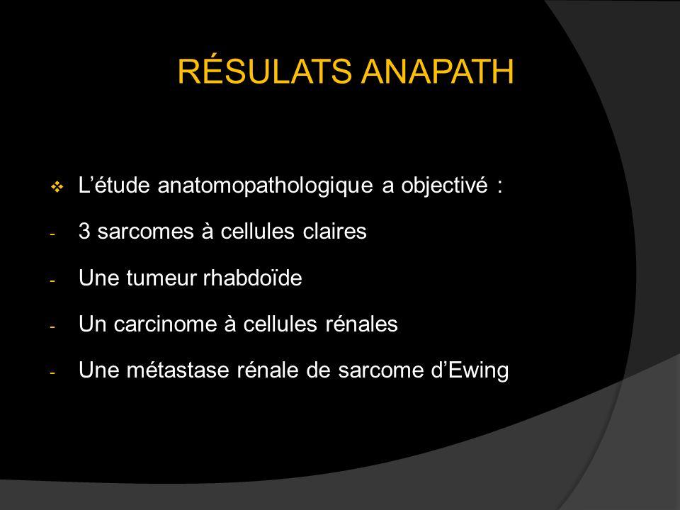 RÉSULATS ANAPATH L'étude anatomopathologique a objectivé :