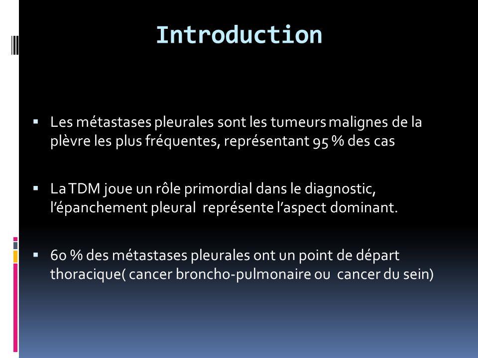 Introduction Les métastases pleurales sont les tumeurs malignes de la plèvre les plus fréquentes, représentant 95 % des cas.